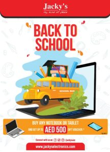 Jacky's Electronics Back to School Promotion Leaflet cover page